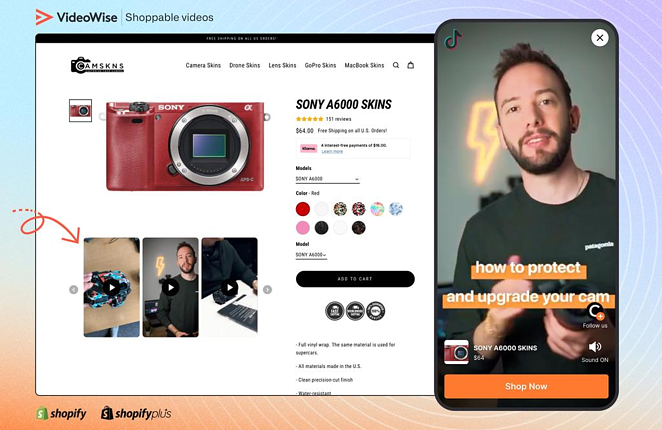 VideoWise Shoppable videos, customized widget from camskns.com. Showcases vertical videos from tiktok/instagram.